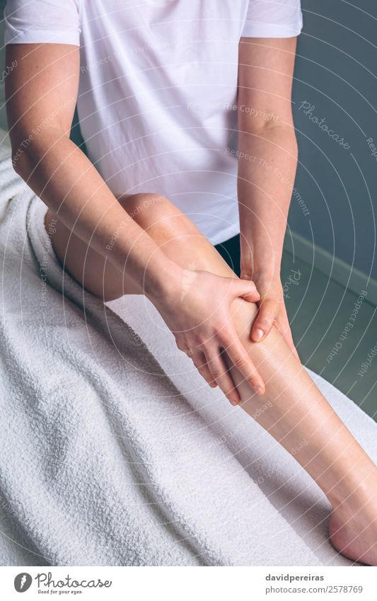 Massage therapist hands doing lymphatic drainage treatment Happy Beautiful Body Skin Health care Medical treatment Medication Wellness Relaxation Spa Doctor