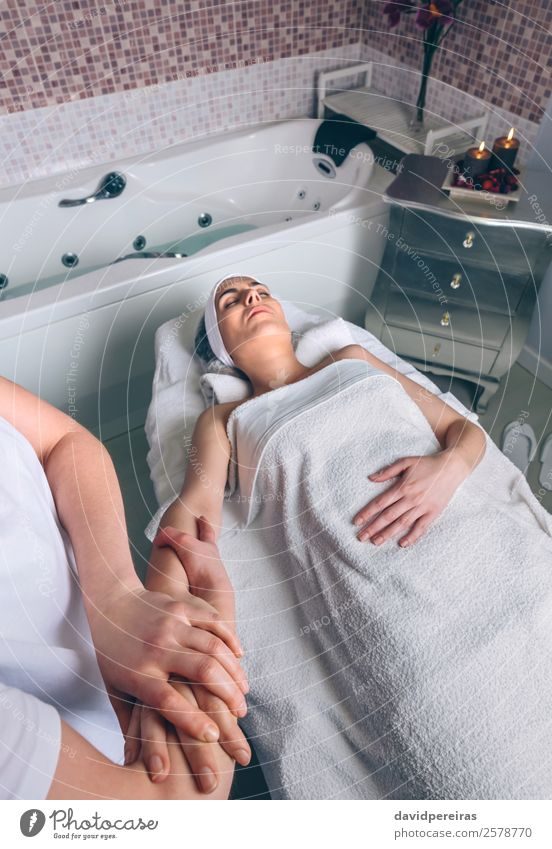 Woman receiving lymphatic drainage massage on clinic Happy Beautiful Body Skin Health care Medical treatment Medication Wellness Relaxation Spa Massage Doctor