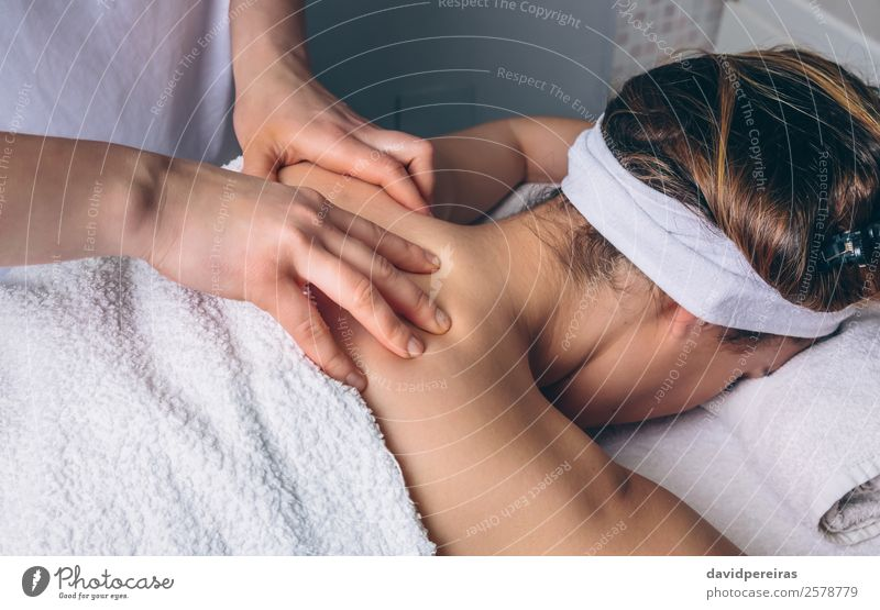 Woman receiving back massage on clinical center Happy Body Skin Health care Medical treatment Medication Wellness Relaxation Spa Massage Doctor Human being