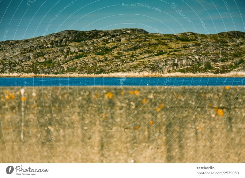 Harbour entrance Bodø Concrete Concrete wall Wall (barrier) Arctic Ocean Europe Rock Vacation & Travel Fjord Sky Heaven Horizon Island Landscape Lofotes