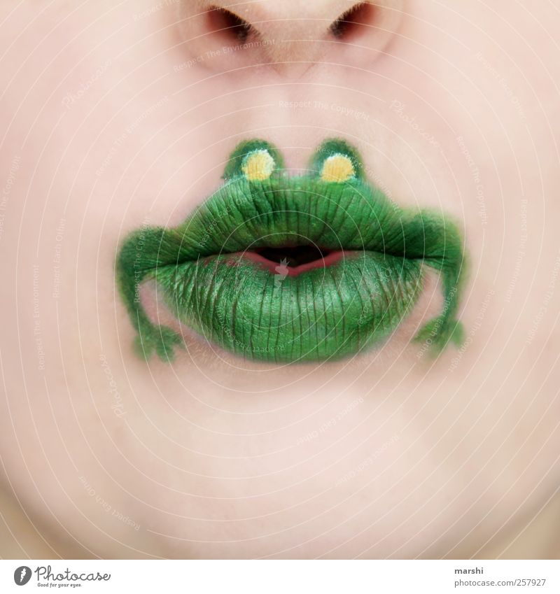 Human being Green Animal Face Funny Skin Mouth Lips Animal face Whimsical Make-up Frog Animalistic Graphic Drawing Cosmetics