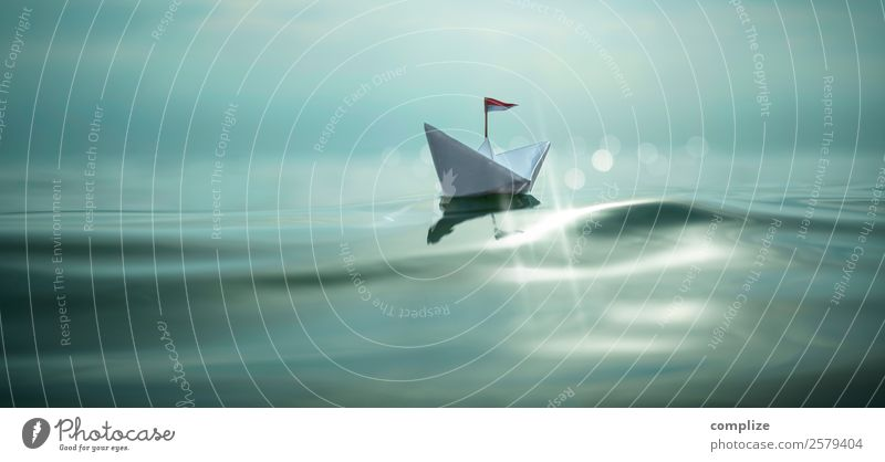 small paper ship with flag on the sea Happy Healthy Alternative medicine Harmonious Relaxation Calm Meditation Swimming & Bathing Vacation & Travel Tourism