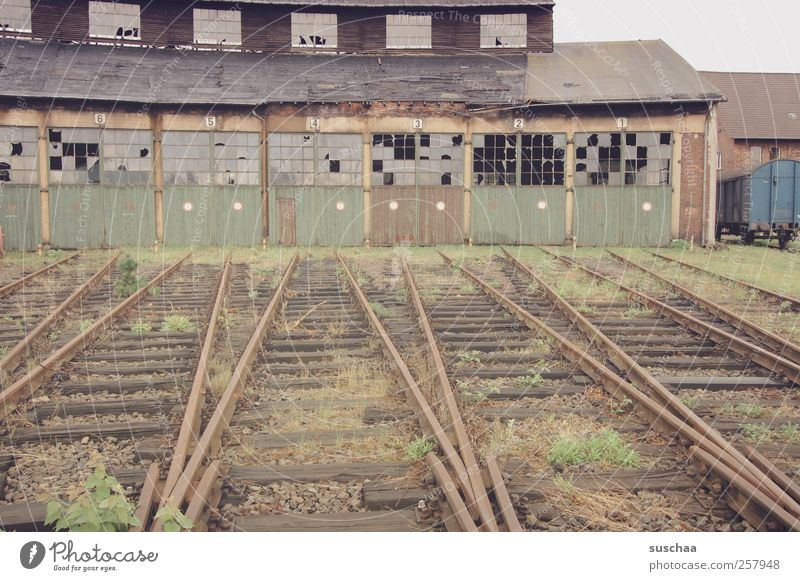 siding Building Nostalgia Decline Transience Scales locomotive shed Vacancy Broken Derelict lost place Rail transport Shut down Colour photo Subdued colour