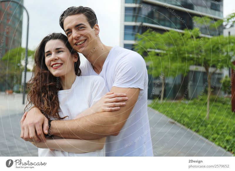 Young beautiful couple posing wearing jeans and t-shirt Woman Human being Youth (Young adults) Man Beautiful Eroticism Black 18 - 30 years Lifestyle Adults Love