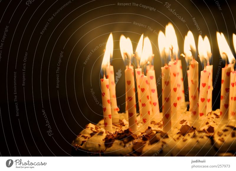 Birthday cake II Cake Dessert Gateau Feasts & Celebrations Candle Heart Flame Happiness Bright Red Black White Sweet Sincere Lighting Dark Colour photo Detail