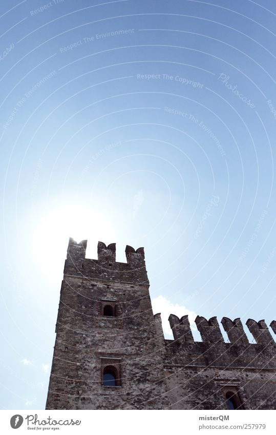 Sky Wall (barrier) Power Tower Past Castle Ruin Remainder Fastening Fortress Medieval times Lake Garda Merlon Era Defensive