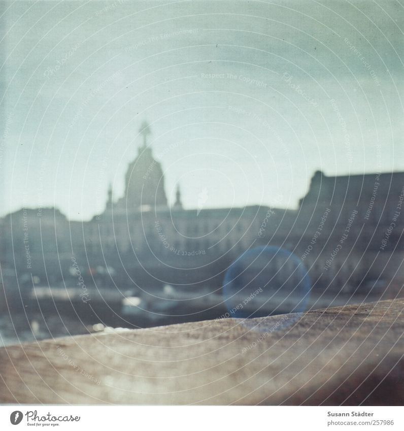House (Residential Structure) Bridge Church Dresden Handrail Analog Capital city Dome Elbe Old town Medium format Lens flare Frauenkirche Patch of light