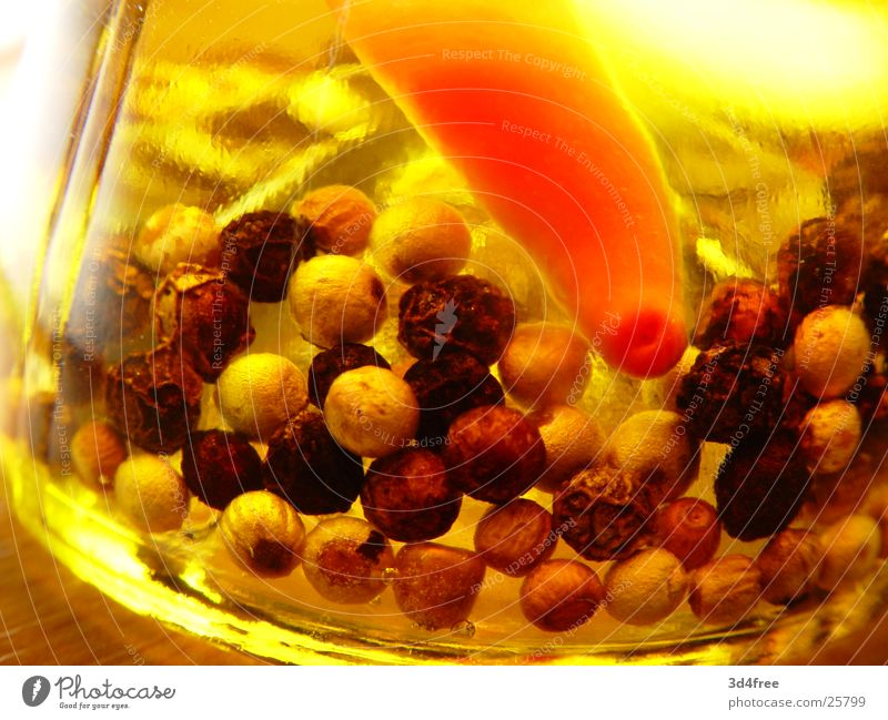 Healthy Herbs and spices Bottle Oil Dreary Pepper Chili Peppercorn