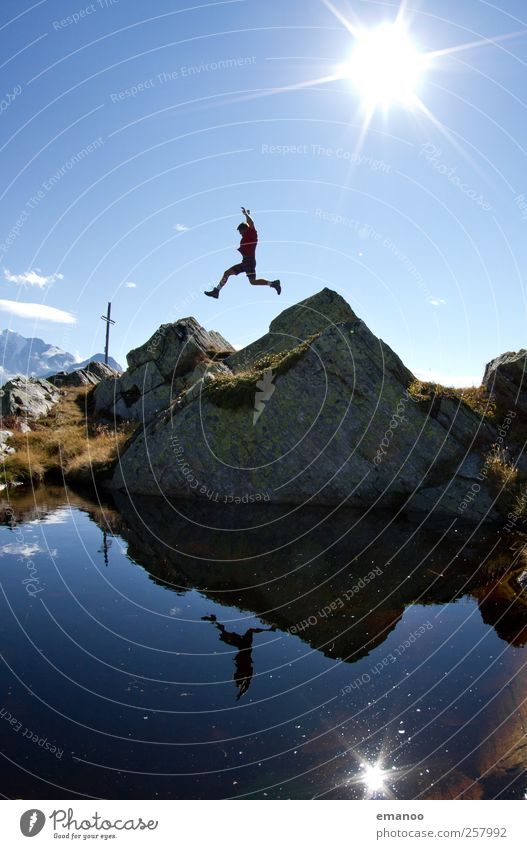 Human being Man Nature Youth (Young adults) Water Vacation & Travel Summer Joy Adults Mountain Freedom Jump Style Power Leisure and hobbies Rock