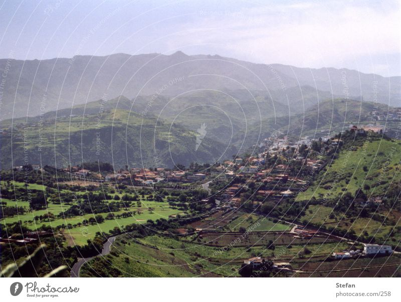 Sun Mountain Glittering Fog Europe Village Spain Gran Canaria