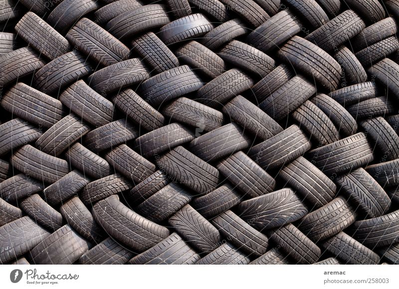 rubber twist Motoring Vehicle Car Trashy Black Orderliness Arrangement Car tire Tire Colour photo Exterior shot Detail Abstract Pattern Structures and shapes