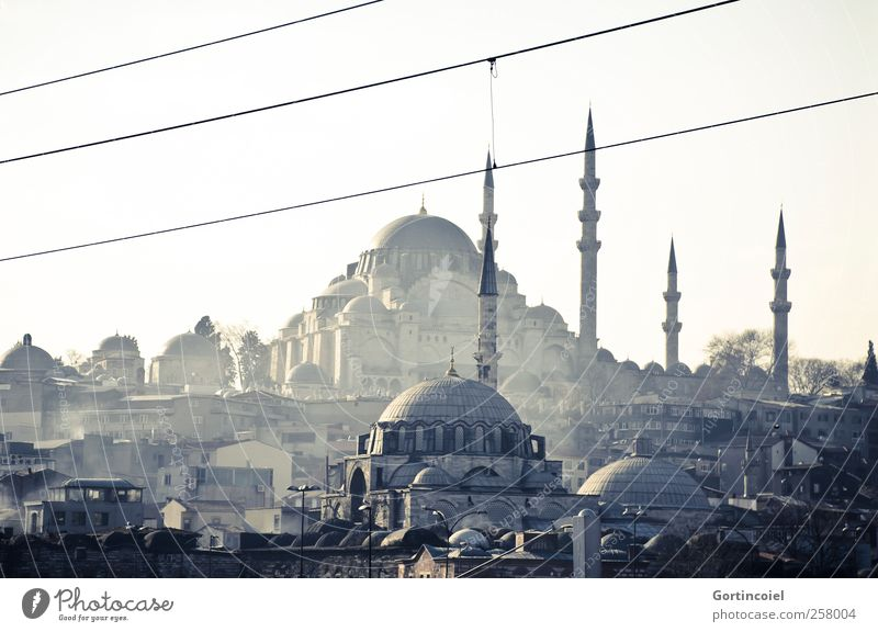 Old City Building Manmade structures Skyline Smoke Downtown Tourist Attraction Turkey Domed roof Istanbul Islam Mosque House of worship Minaret
