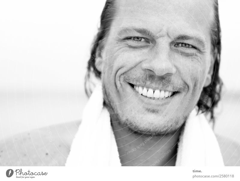 Christian Masculine Man Adults 1 Human being Beach Cloth Towel Long-haired Designer stubble Smiling Laughter Looking Friendliness Happiness Fresh Wet Beautiful