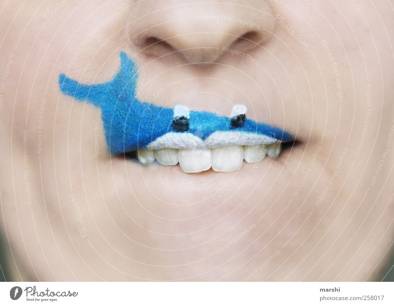 Human being Blue Animal Face Head Funny Skin Mouth Fish Threat Teeth Lips Carnival Creepy Make-up Shark