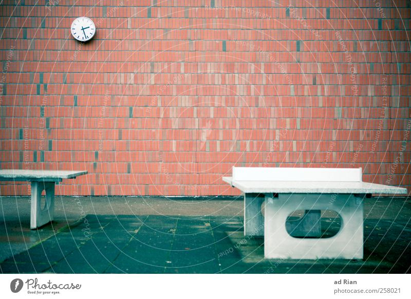 playground Sports Table tennis Schoolyard Clock Deserted Places Building Architecture Wall (barrier) Wall (building) Gloomy Sadness Colour photo Copy Space top