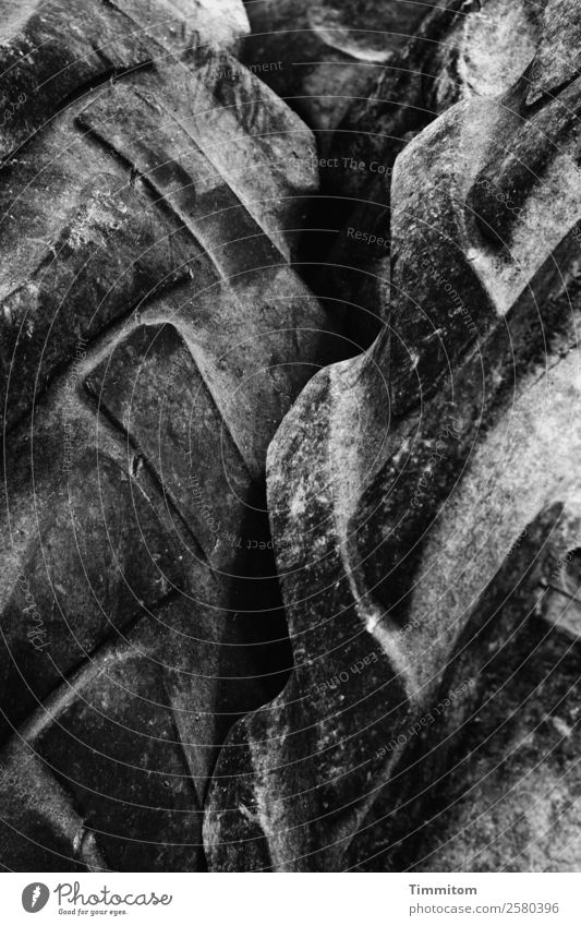 profile Tire Tire tread Dark Gray Black Emotions sorted out Old Abrasion Utility vehicle Black & white photo Exterior shot Deserted Day