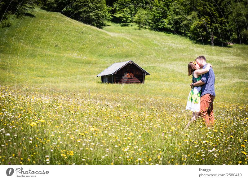 happy lovers on Holiday in the alps mountains Lifestyle Beautiful Relaxation Vacation & Travel Adventure Summer Mountain Woman Adults Man Couple Partner 2