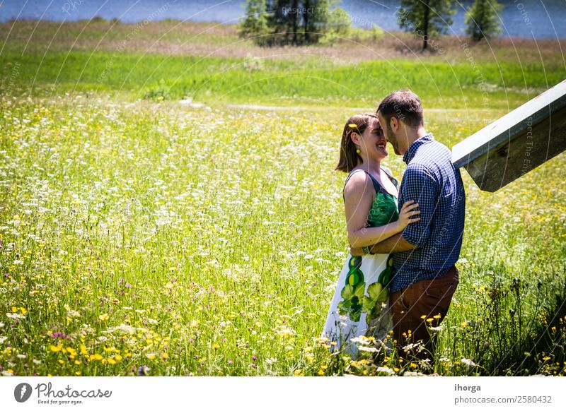 happy lovers on Holiday in the alps mountains Lifestyle Happy Beautiful Relaxation Vacation & Travel Adventure Summer Mountain Woman Adults Man Couple Partner 2