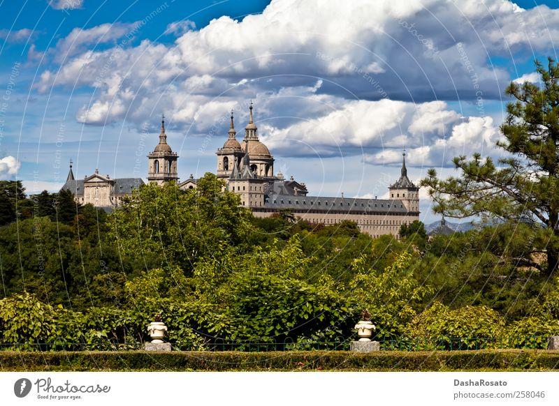 San Lorenzo de El Escorial Monastery Spires, Spain Vacation & Travel Summer Nature Plant Sky Clouds Tree Bushes Monasterio de San Lorenzo Church Dome Castle