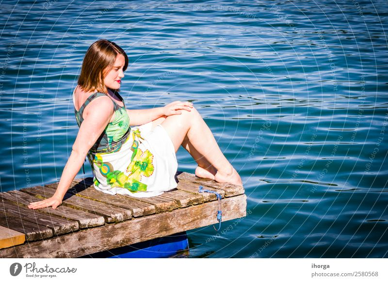 Woman on vacation at the pier on a lake Human being Vacation & Travel Nature Summer Beautiful Water Landscape Relaxation Mountain Lifestyle Adults Love Natural