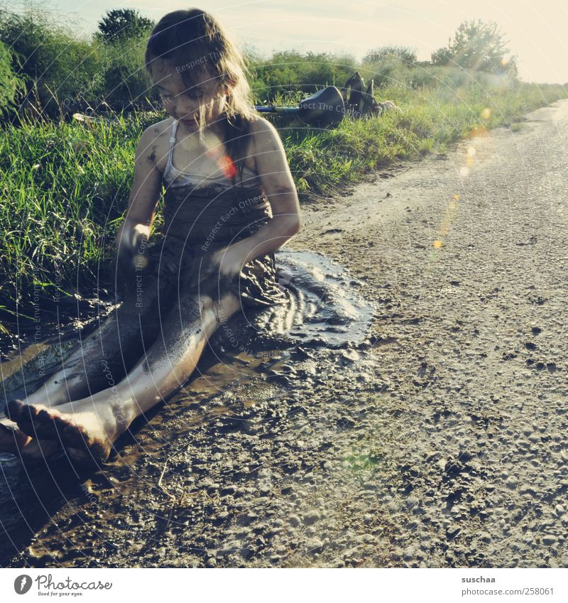 Human being Child Nature Girl Summer Joy Environment Life Landscape Grass Happy Legs Feet Infancy Body Field