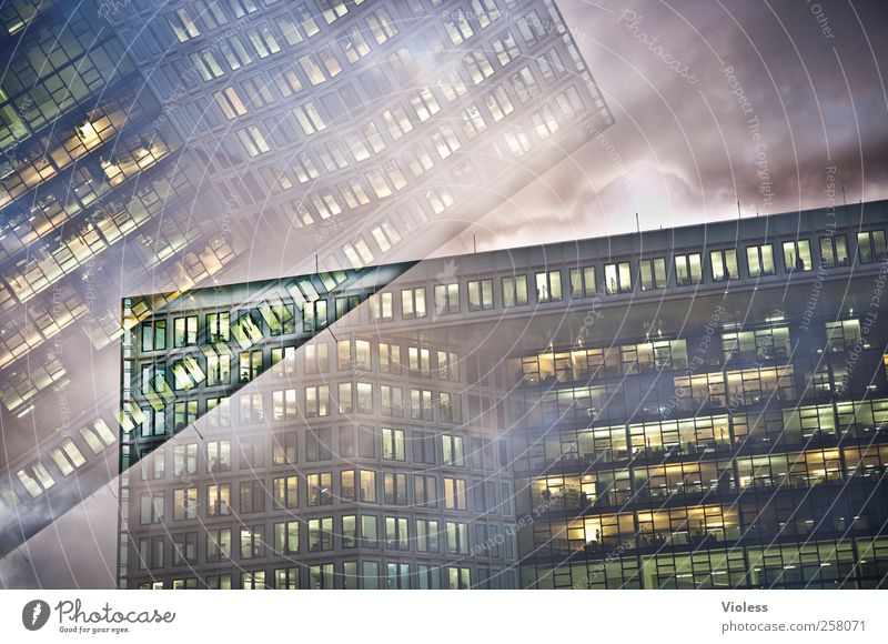House (Residential Structure) Dark Window Architecture Building Lighting Facade High-rise Double exposure Office building