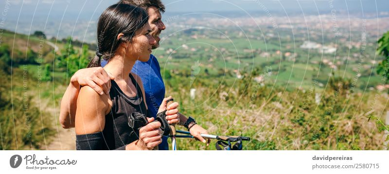 Couple stopping to look the views while doing trail Lifestyle Adventure Sports Human being Woman Adults Man Nature Landscape Lanes & trails Observe Smiling