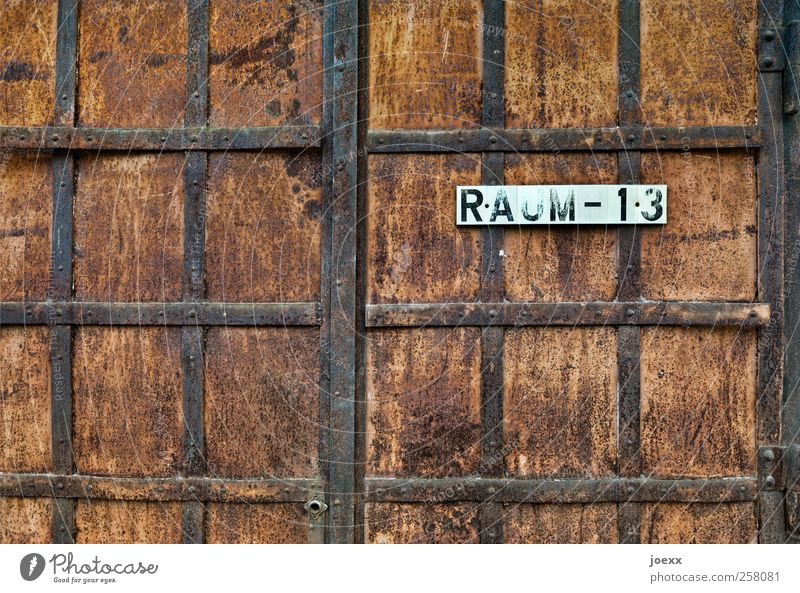 Room - 13 Gate Door Steel Rust Characters Digits and numbers Old Historic Retro Brown Black White Mysterious Decline iron mount Iron gate Room 13 Colour photo