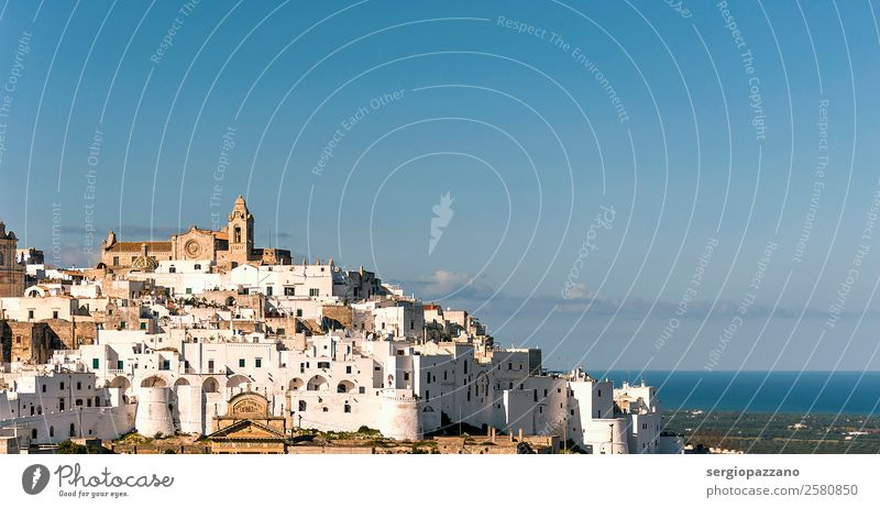 Panoramic view of the white village of Ostuni in Salento Nature Vacation & Travel Old Blue Town Beautiful White Landscape Healthy Lifestyle Warmth Environment