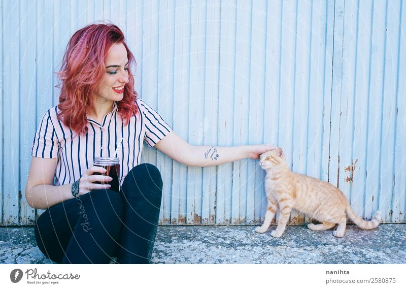 Young woman with her cat Drinking Lifestyle Style Joy Beautiful Wellness Harmonious Human being Feminine Youth (Young adults) Woman Adults Friendship 1