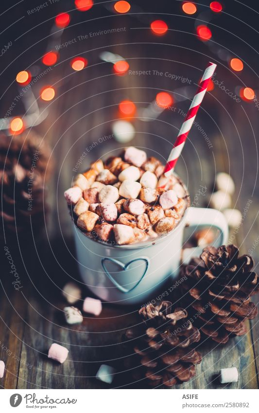 Christmas hot chocolate Breakfast Beverage Hot Chocolate Winter Wood Heart Delicious Red Tradition marshmallows mug Pine cone Festive Lighting straw drink milk