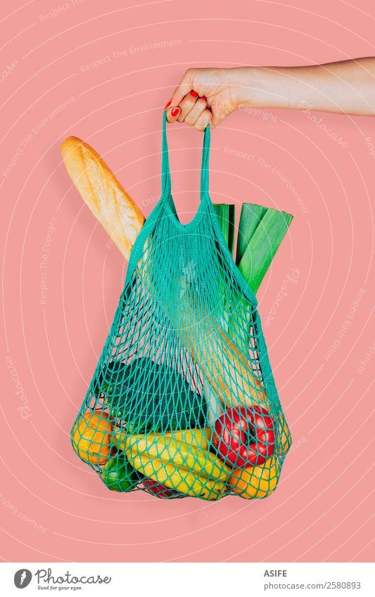 Eco friendly shopping bag Vegetable Fruit Bread Vegetarian diet Shopping Woman Adults Arm Hand Plant Fashion Bag Fresh Hip & trendy Retro Green Pink Colour