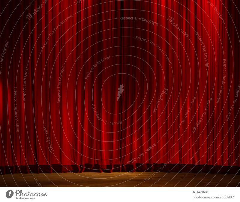Curtain Up Stage play Event Red Floodlight Drape Folds Colour photo Interior shot Deserted Copy Space left Copy Space right Copy Space top Copy Space middle