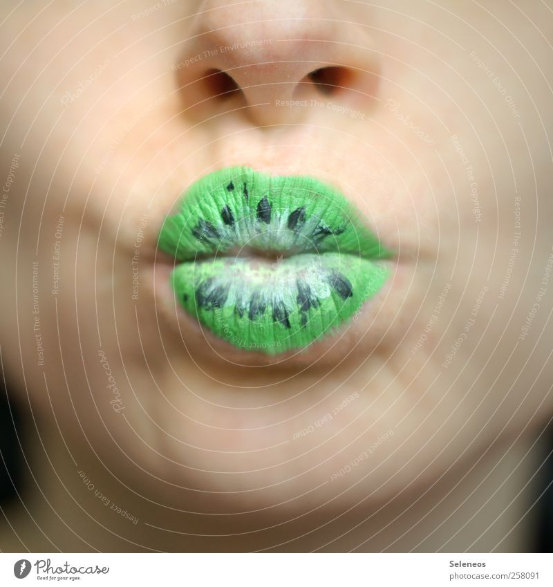 Human being Plant Face Nutrition Food Fruit Mouth Nose Lips Near Kissing Make-up Lipstick Kiwifruit