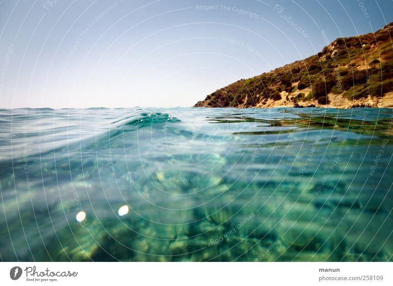 Off on holiday Nature Landscape Water Sky Beautiful weather Hill Rock Waves Coast Bay Ocean Island Mediterranean sea Sardinia Authentic Natural Wanderlust