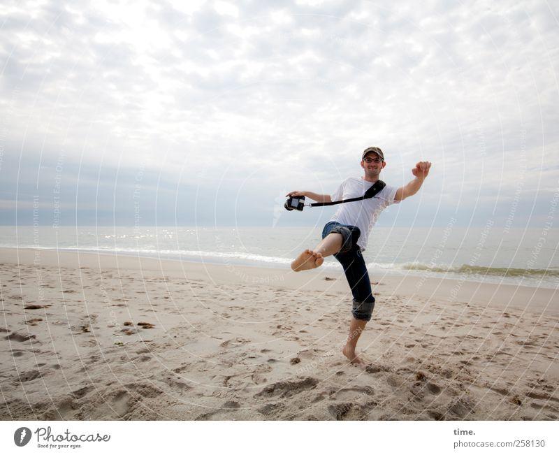 Human being Sky Man Beach Joy Clouds Adults Environment Coast Moody Horizon Contentment Body Masculine Camera North Sea