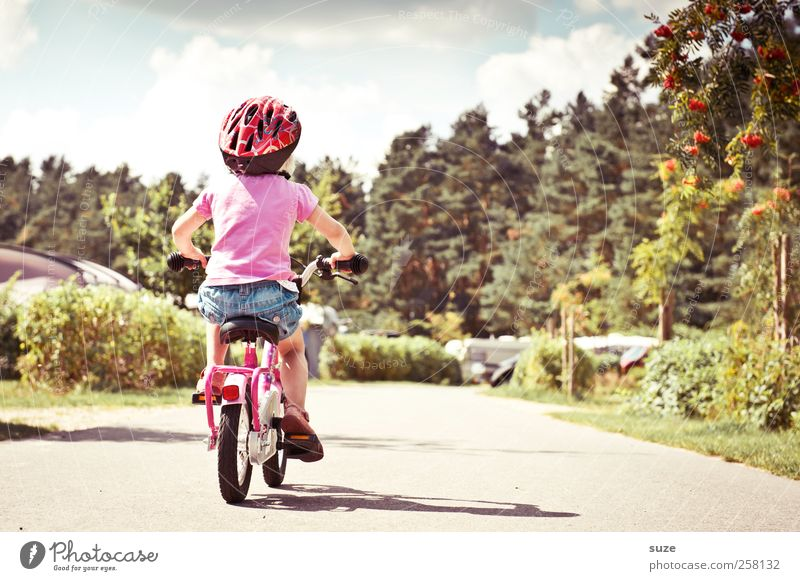 resignation Summer Cycling Bicycle Study Human being Child Toddler Girl Infancy 1 3 - 8 years Environment Beautiful weather Traffic infrastructure