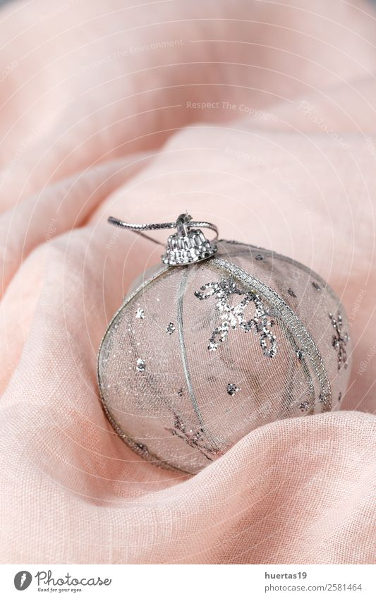 Christmas background with decorations Style Design Winter Decoration Desk Feasts & Celebrations Christmas & Advent New Year's Eve Art Pink Silver