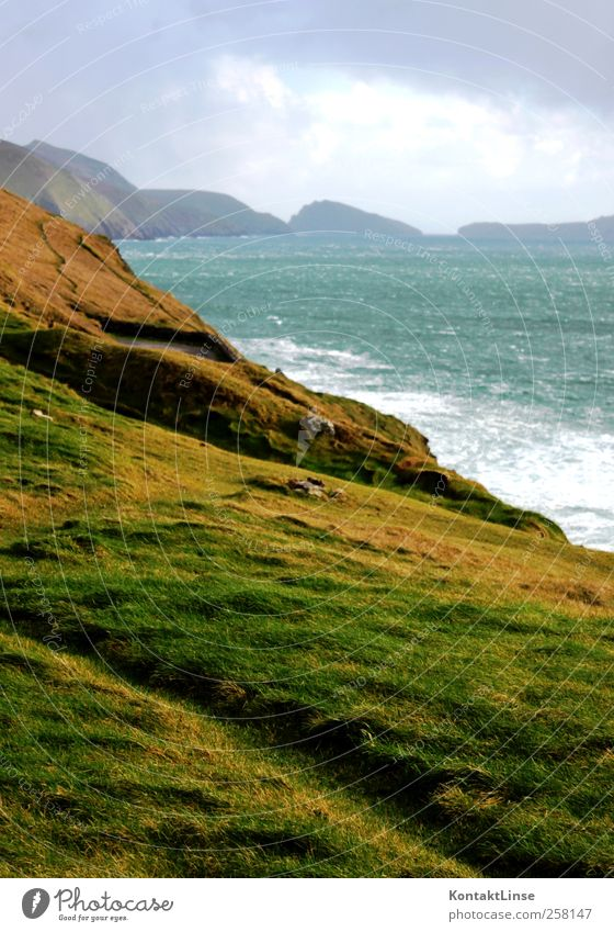 Wind and weather Relaxation Vacation & Travel Adventure Far-off places Ocean Waves Nature Landscape Water Clouds Hill Coast Fresh Bright Juicy Wild Blue Green