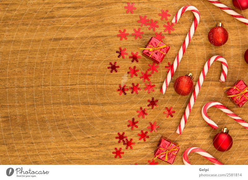 Candy canes with Christmas balls Christmas & Advent Colour White Red Joy Winter Wood Happy Feasts & Celebrations Design Bright Decoration Gift Stripe