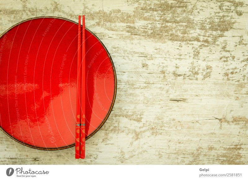Oriental ceramic plate and chopsticks Lunch Dinner Plate Bowl Style Design Life Decoration Table Kitchen Restaurant Culture Wood Red Colour Tradition oriental