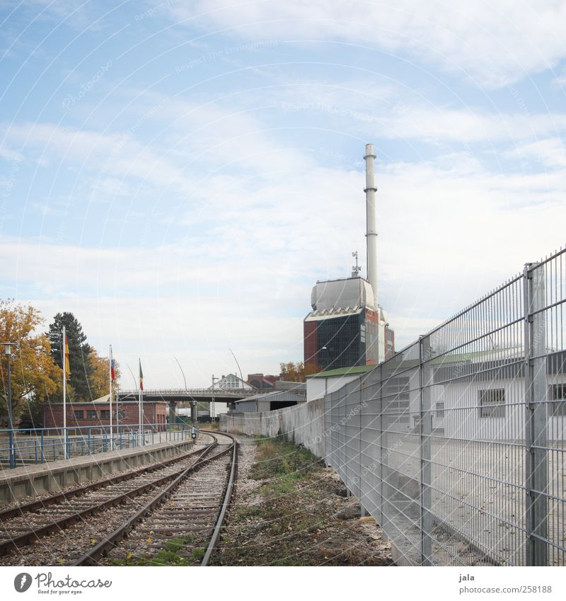 Sky City Tree Plant Autumn Architecture Building Gloomy Manmade structures Factory Railroad tracks Fence Industrial plant Rail transport
