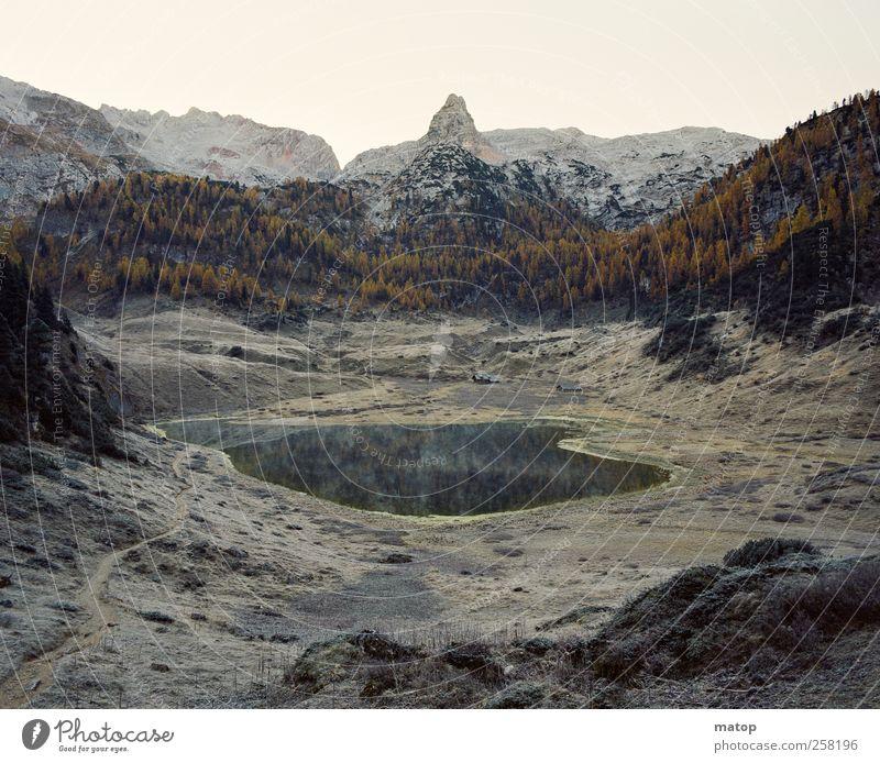 Nature Water Beautiful Tree Loneliness Autumn Landscape Mountain Lake Ice Rock Hiking Frost Alps Climbing Peak