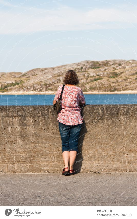 Harbour Bodø Woman Back Rear view Longing Wait Stand Concrete Concrete wall Wall (barrier) Arctic Ocean Europe Rock Vacation & Travel Fjord Sky Heaven Horizon