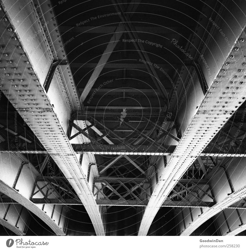 under the bridge Bridge Metal Prop Old Dirty Dark Sharp-edged Free Tall Cold Dry Town Black & white photo Exterior shot Deserted Day Light Shadow Contrast