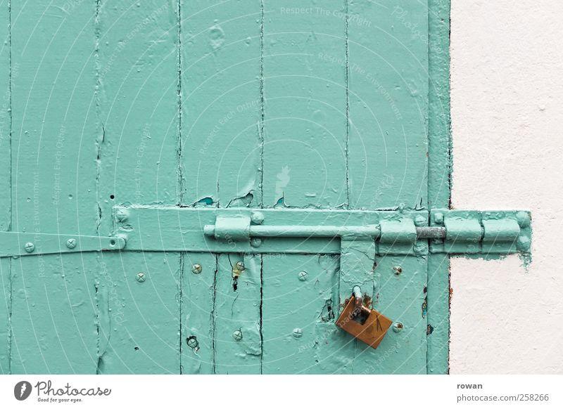 finalized Wall (barrier) Wall (building) Door Green Safety Lock Closed Padlock Locking bar Metal fitting Turquoise Wood Wooden door Captured Break-in