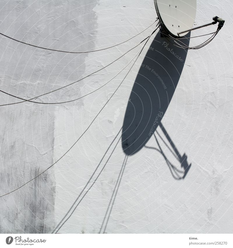 bowl radio Cable Satellite dish Technology Entertainment electronics Wall (barrier) Wall (building) Stone Metal Network Gray White Trade Communicate Arrangement