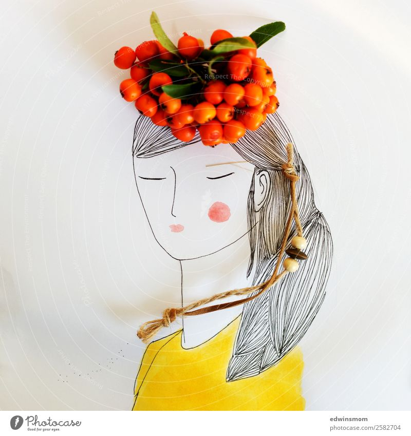 Autumn is here Leisure and hobbies Feminine Young woman Youth (Young adults) 1 Human being Plant Wild plant Rawanberry Accessory Hat Black-haired Paper