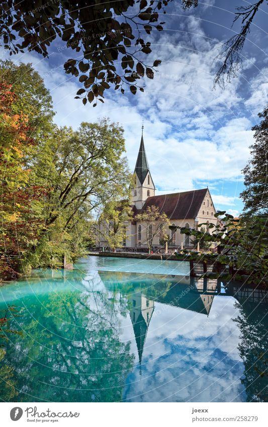 blue pot Nature Sky Clouds Autumn Beautiful weather Tree Pond Lake Source karst spring Church Blue Multicoloured Yellow Green Black Idyll Blautopf Colour photo