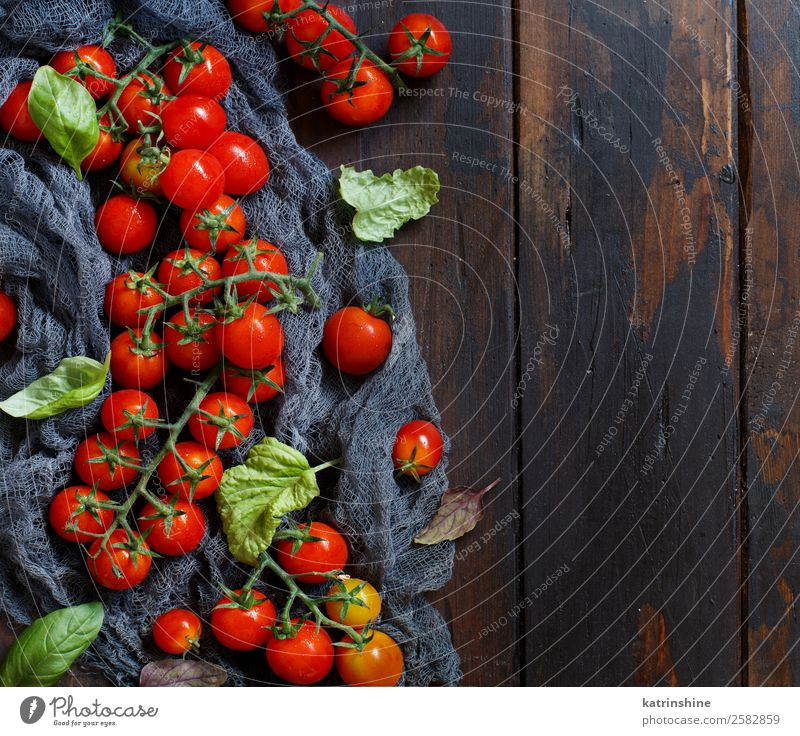 Cherry tomatoes and basil Vegetable Vegetarian diet Diet Table Leaf Fresh Bright Natural Brown Green Red cooking food health healthy Ingredients Raw Rustic